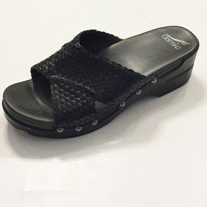 Dansko Black Woven Leather Slide Sandals 38